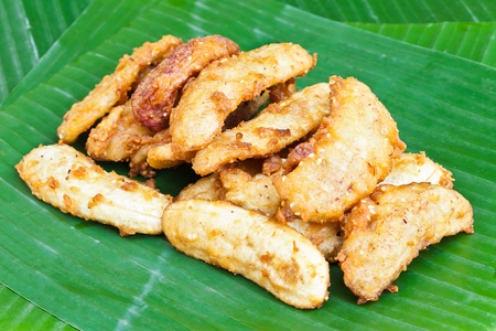 Fried Banana with Banana leaf photo