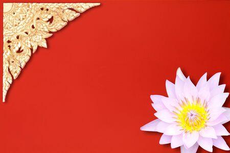 Traditional Thai Style Pattern on Red Velvet photo