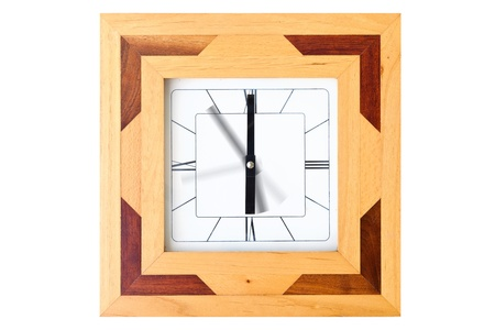 elapsed: Wooden clock with motion hand isolated on white