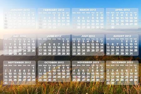 2012 Calendar on landscape photo photo