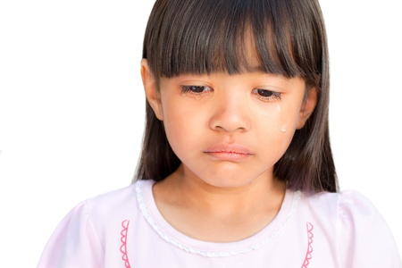 Little girl crying with tears rolling down her cheeks, isolated on white photo
