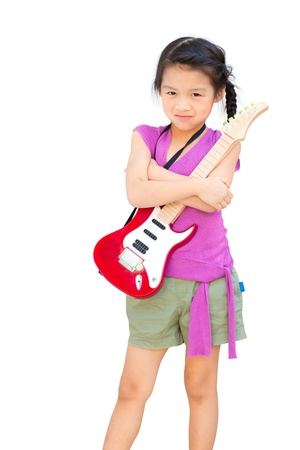 A girl with a guitar isolated on white background photo