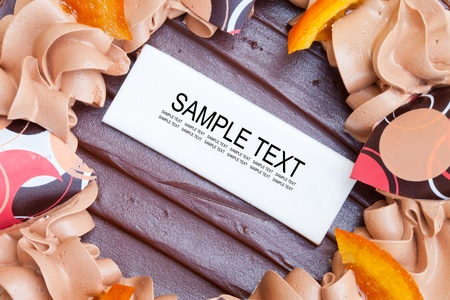 Chocolate Birthday Cake with Sample Text photo