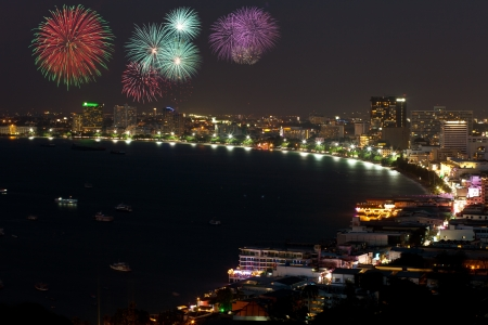 pattaya thailand: Night view and fireworks at Pattaya city, Thailand