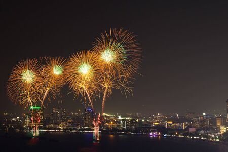 pattaya thailand: Fireworks at Pattaya bay (Beach town of Thailand)
