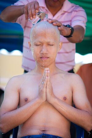 buddhist monk: Monks ordination ceremony, Thailand Stock Photo