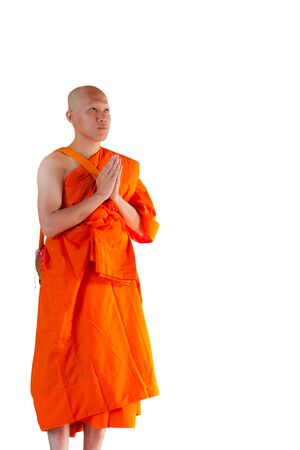 buddhist temple: Thai monk isolated on white