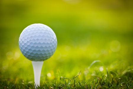 golf green: Golf ball on tee Stock Photo