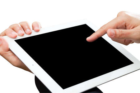 Person hand holds and touch tablet computer isolated on white Stock Photo - 11962277