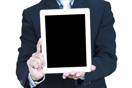 Business man shows touch screen tablet with black screen isolated on white photo
