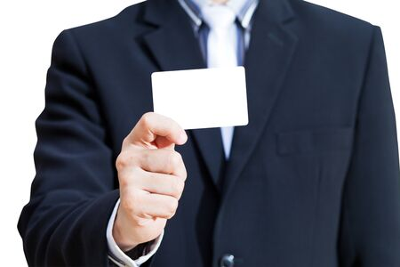 Business card in business man hand photo