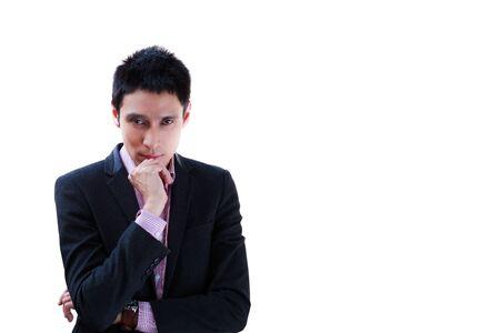 man face close up: Thinking businessman isolated on white background