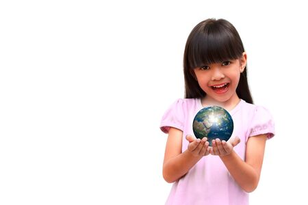Happy smiling little girl holding earth photo