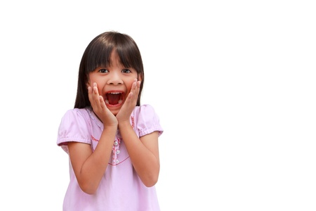 little girl surprised: Portrait of surprised little girl, Isolated on white Stock Photo