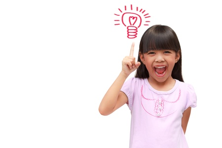 thai student: Little girl get idea isolated on white Stock Photo
