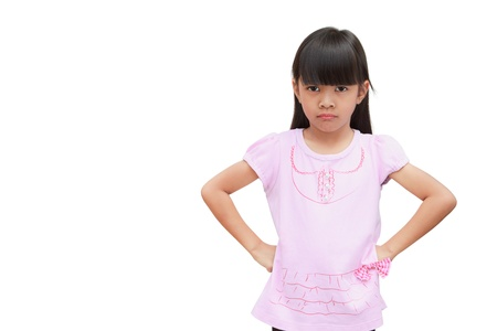 anger kid: Angry little girl, Isolated on white