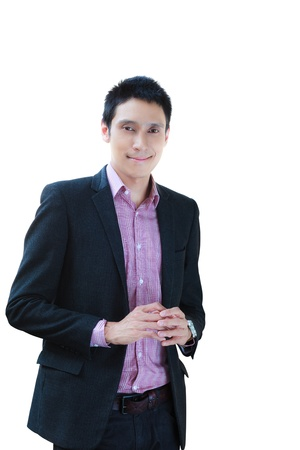 Smiling business man standing isolated on wihte photo