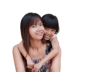 Mother and her little daughter embracing, Isolated on white Stock Photo - 12427966