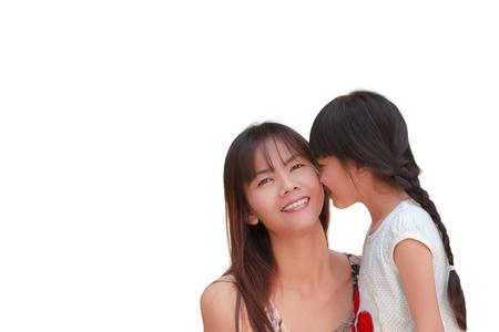 nice day: Lovely girl kissing her mother