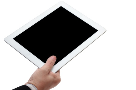 hand held: Person hand holds tablet computer isolated on white