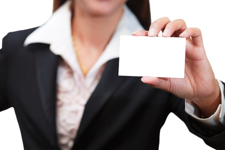 Business woman holding a blank card for your message, isolated on white photo