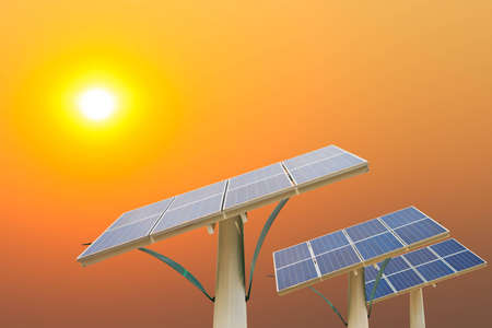 Solar energy panels in the setting sun photo
