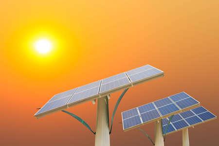 Solar energy panels in the setting sun photo