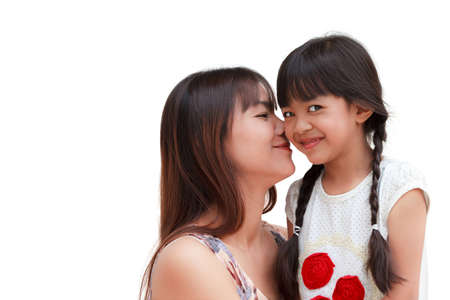 Lovely mother kissing her daughter photo