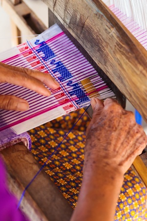 rug weaving: Weave homemade, Thailand Stock Photo