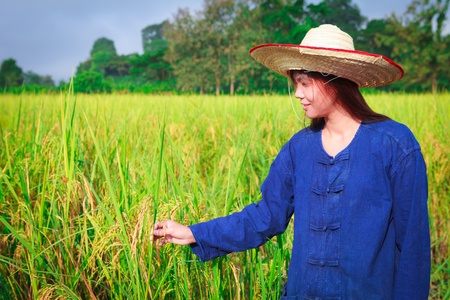 Smiling woman in farmer suit on rice fields photo