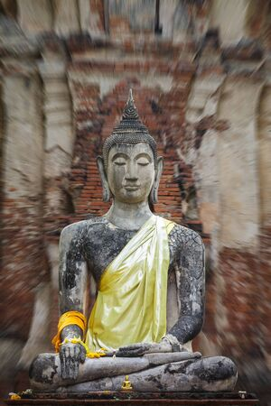 Old buddha Status at Ayutthaya, Thailand photo