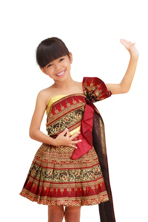 Thai littile girl dancing with thai style, Isolated on white photo