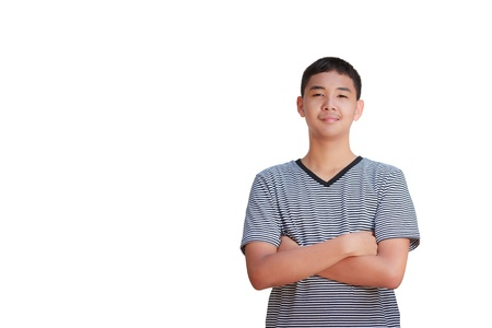 Portrait smiling Asian teenage Boy, Isolated on white Stock Photo - 12927061