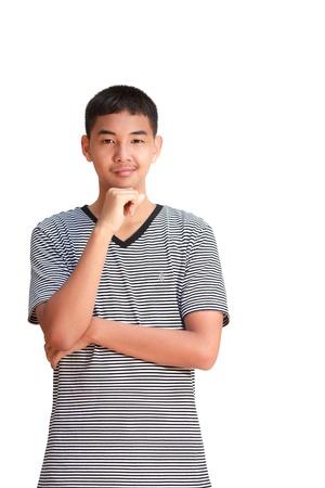 Asian male model: Chân dung mỉm cười Boy tuổi teen châu Á, Isolated trên trắng