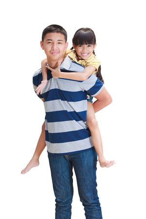 younger man: Young sister hold on her big brother