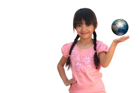 earth hands: Happy smiling little girl holding earth, Isolated on white Stock Photo