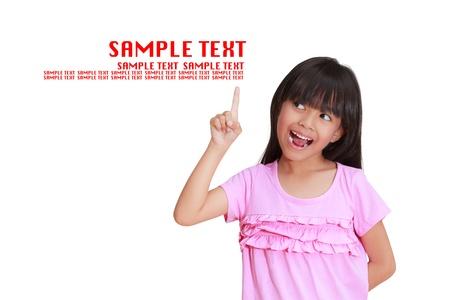 point exclamation: Petite fille mignonne avec l'index jusqu'� Banque d'images