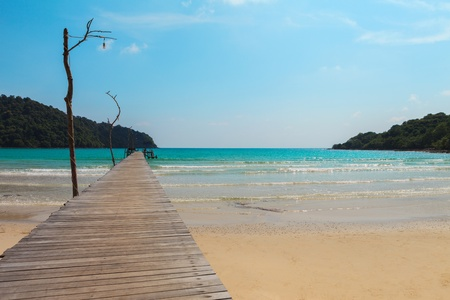 Wood bridge to the sea, at Koh Kood Thailand photo