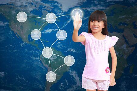 Little girl pressing social network diagram photo