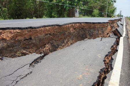 environment damage: Cracked asphalt road after flood