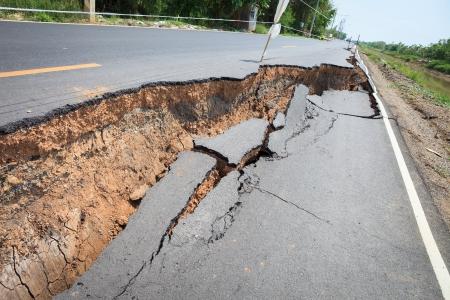 Cracked asphalt road after flood  photo