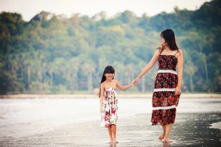 Filmlook tone  Mother and daughter walking on beach photo