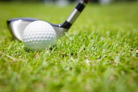 ゴルフのクラブとボール緑の草に