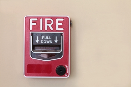 damage control: Fire alarm switch on the wall Stock Photo