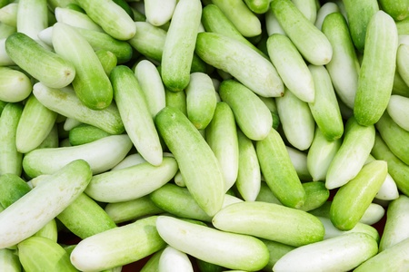 bunched: Cucumbers bunched together for sale at market Stock Photo