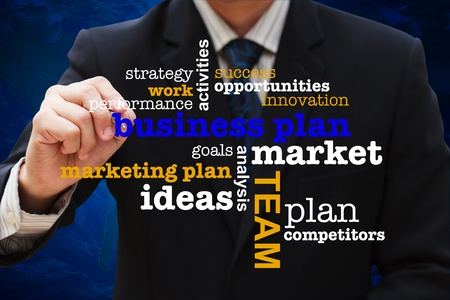 conference presentation: Businessman drawing business plan diagram
