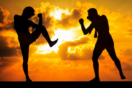 kickboxing: Muay thai, Thai Boxer in sunset background