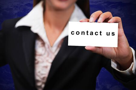 Businesswoman show contact us massage card Stock Photo - 14021397