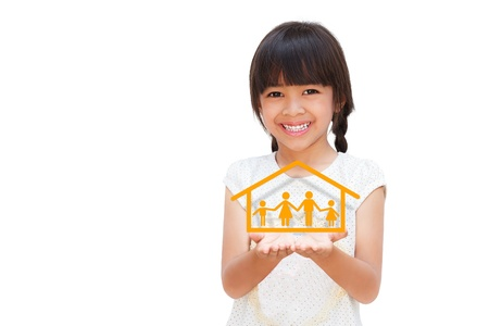 Smiling little girl showing on family symbol, Isolated on white photo