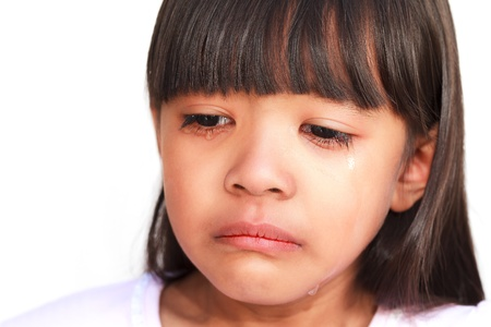 Little girl crying with tears rolling down her cheeks